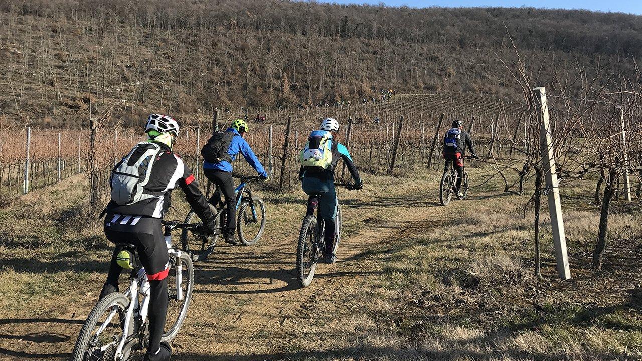 donne ini bici sui sentieri dei Colli Berici in inverno