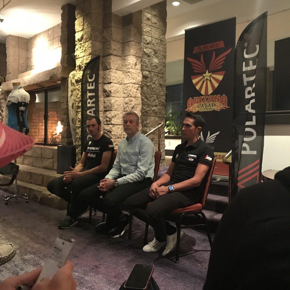 conferenza stampa con Alberto Contador Ivan basso e Gary Smith di Polartec